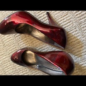 Red patent high heels - 2 1/2 to 3 inch heels